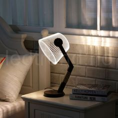 Circle Circle Optical illusion Night Light Modern Classical V Design LED Desk Table Lamp with US Plug Modern Lighting, Lighting Design, Illusion 3d, Lampe 3d, Plywood Art, Desk Lamp, Table Lamp, 3d Optical Illusions, Laser Cutter Projects