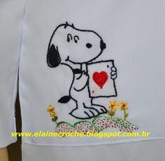 Elaine Croche: Jaleco Pediatria Personalizado Snoopy - Bordado Livre