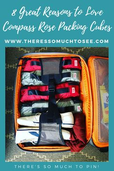 Pinnable image of Compass Rose Packing Cubes in a orange Tumi Roll Aboard suitcase Carry On Packing, Packing Cubes, Packing Tips, Travel Packing, Bigger Person, Travel Necessities, Compass Rose, Tumi, Suitcase