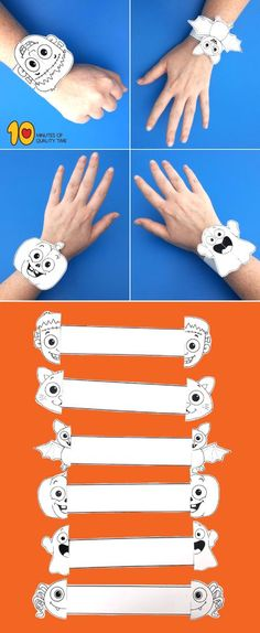 - My Pictures - Halloween Printable Bracelets – # Bracelets crafts crafts # - Theme Halloween, Halloween Crafts For Kids, Holidays Halloween, Fall Crafts, Holiday Crafts, Halloween Printable, Printable Halloween Decorations, Bricolage Halloween, Halloween Infantil