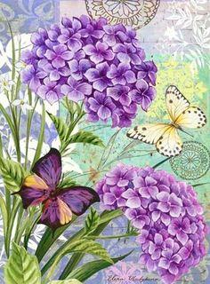 geraniums and butterflies.Purple geraniums and butterflies. Decoupage Vintage, Decoupage Paper, Vintage Cards, Vintage Paper, Vintage Images, Flower Collage, Flower Art, Flower Beds, Art Floral