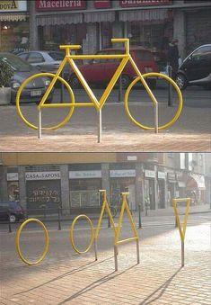 fietsenrekken vormen een 'ruimtelijke fiets'