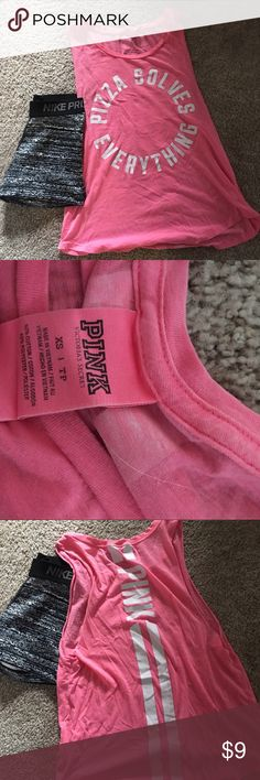 """VS PINK TANK TOP ♡Victoria Secret PINK Pink Tank Top ♡Great condition, worn a few times, no flaws! ♡Pink color with white writing """"Pizza Solves Everything"""" ♡Super soft material ♡Sizing = XS = fits like a small ♡Perfect for working out, or even summertime, I usually tie mine up on the side  ❗️Always open to offers, Ask Questions❗️ ‼️Bundle to save‼️ PINK Victoria's Secret Tops Tank Tops"""