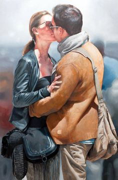 Marc Figueras {contemporary figurative realism art kissing couple painting} marcfigueras.blogspot.com