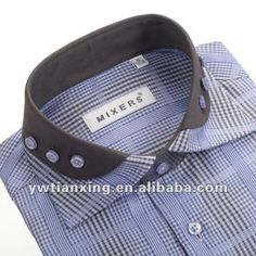 Men Shirt/double Collar Shirt: China Suppliers – 885520 - Dress World for Men Men's Shirts And Tops, Cotton Shirts For Men, Casual Shirts For Men, Fashion Casual, Gents Fashion, Shirt Collar Styles, Collar Shirts, Double Collar Shirt, Mens Kurta Designs
