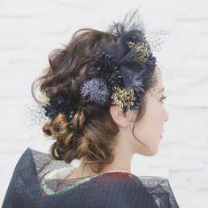 いいね!68件、コメント1件 ― acoさん(@aco_wedding.lilla)のInstagramアカウント: 「【sumi】 ブラックチュールがメインとなるシックでオシャレな、 19パーツのセットです✨…」 Bride Makeup, Wedding Hair And Makeup, Bridal Hair, Hair Makeup, Matsuri Festival, Up Styles, Hair Styles, Hair Arrange, Hair Setting
