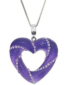 SIS by Simone I Smith Platinum Over Sterling Silver Necklace, Purple Crystal Cloud Open Heart Pendant