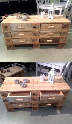 No home is complete without the ample storage option and if it is less in any home, then it can be created by creating the chest with drawers made up of reclaimed wood pallets. A person can create as many chests and as many drawers in each chest as he/she wants.