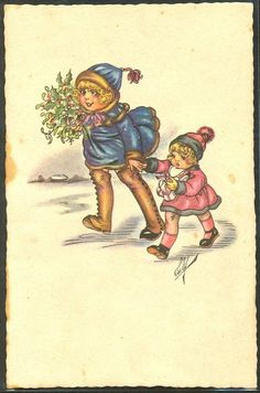 GM178 A S Luly Couple DE Fillettes Bouquet DE Houx GUI | eBay