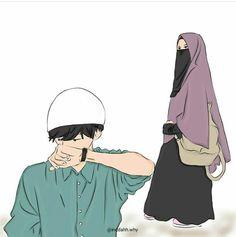 Cute Muslim Couples, Cute Couples, Hijab Drawing, Love Cartoon Couple, Film Anime, Islam Marriage, Islamic Cartoon, Anime Muslim, Muslim Family