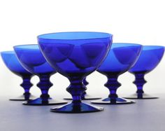 Cobalt blue glass dessert cups, sorbet cups, champagne coupe, set of six