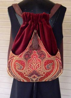 Backpack of Red and Brown Tapestry renaissance backpack boho backpacks tapestry backpack cinch bag sling bag tapestry book bag