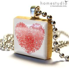 Heart Print : jewelry pendant charm made from a Scrabble game tile piece