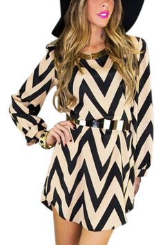 Zigzag Print Autumn Mini Shift Dress from mobile - US$13.95 -YOINS
