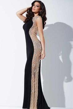 Black Cap Sleeve Fitted Jersey Prom Dress 27514 - Prom Dresses