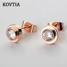 KOVTIA Brand Pop Design Cubic Zirconia Stud Earrings For Women Rose Gold Color And Bright White Cute Jewelry 881142