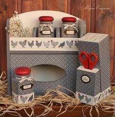 набор для кухни, баночки для специй, прованский стиль, подарок хозяйке, подарок женщине, кухня прованс, красно-белый, красно-серый, маша спирина, ручная работа марии спириной, подставка для ножей