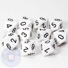 Set of Ten d10 Dice - Opaque White