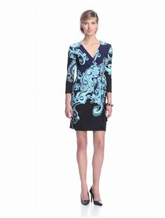 Donna Morgan Women's Long Sleeve Wrap Dress with Side Tie