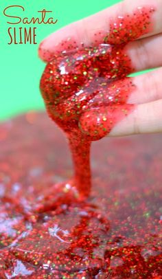 Santa Slime is super sparkly and smells just like Christmas.... Such a fun way for kids to play this holiday! {Easy to make, too!}