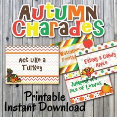 Autumn Charades Party Game Printable - 32 Different Thanksgiving Charade Prompts on Decorative Cards - Printable Digital File - Family games - Thanksgiving Games For Kids, Thanksgiving Photos, Thanksgiving Parties, Thanksgiving Crafts, Thanksgiving Mantle, Thanksgiving Celebration, Thanksgiving Traditions, Thanksgiving Crossword Puzzle, Printable Cards