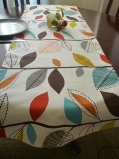 "Retro Orange Table Runner Multi and White Funky Cotton (54"" 137cm) 4 design choices by WickedWalls for $30.00"