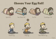 Running man egg rolls
