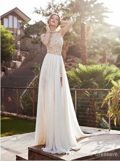 2015 Vintage Beach Prom Dresses High Neck Beaded Crystals Lace Applique Side Slit Evening Gowns