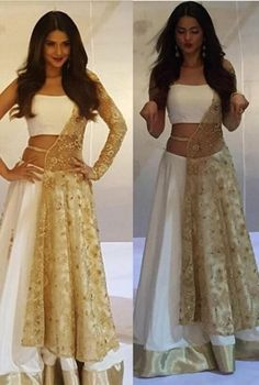 I'm looking for same jacket lehenga like the one which Jennifer Winget is wearing - SeenIt Indian Gowns, Indian Attire, Indian Ethnic Wear, Indian Wedding Outfits, Bridal Outfits, Indian Outfits, Emo Outfits, Stylish Dresses, Fashion Dresses