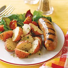 Sausages with Warm Potato Salad- Calories: 308   Fat: 18g   Saturated fat: 4g   Protein: 8g   Carbohydrate: 29g   Fiber: 3g   Cholesterol: 20mg   Sodium: 404mg