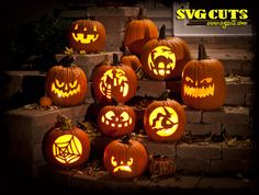 Jack O' Lantern Carving SVG Kit.  I used a whole bunch of these patterns last year