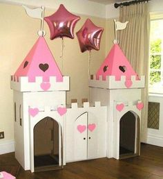 Cardboard playhouse plans Free cardboard playhouse plans for making an amazingly sturdy playhouse for toddlers using mostly free materials Complete instructions Cardboard Box Crafts, Cardboard Castle, Cardboard Playhouse, Castle Playhouse, Cardboard Box Houses, Diy For Kids, Crafts For Kids, Carton Diy, Kids Castle