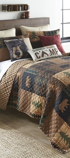 Bear Cabin Bedding | This Bear Quilt showcases a patchwork of plaid patterns with bear, cabin and tree accents – the perfect addition to your lodge or cabin. Comforters, Blanket, Bed, Home, Creature Comforts, Quilts, Stream Bed, Ad Home, Blankets
