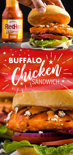 Buffalo Chicken Sandwich Recipe Could your grilled chicken sandwich recipe use some heat? Frank's RedHot Buffalo Chicken Sandwich served with ranch dressing or blue cheese is summer classic ready in 30 minutes! Buffalo Chicken Sandwiches, Chicken Sandwich Recipes, Grilling Recipes, Cooking Recipes, Healthy Recipes, Tofu Recipes, Good Food, Yummy Food, Pasta