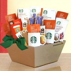 Coffee Gift Baskets - California Delicious Gift Basket, Starbucks Coffee, Cocoa and Chocolate. With a delicious selection of Starbucks coffee varieties, this gift basket has something for everyone on your gift list. Salted Caramel Hot Chocolate, Cocoa Chocolate, Organic Chocolate, Chocolate Gifts, Chocolate Basket, Starbucks Gift Baskets, Coffee Gift Baskets, Food Gift Baskets, Tea Gifts