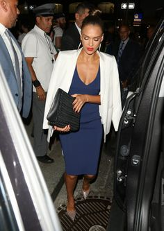 Jessica Alba Cocktail Dress - Jessica Alba enjoyed a night out wearing a fitted blue dress by Narciso Rodriguez.