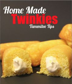 Home Made Twinkies. Guess I should keep this incase I get a craving for them now that they are gone!! :( ---------------- I personally hate the things, but my husband has a hangup about them from his childhood, so I shall keep this pin handy for when he has the urge to glow in the dark!!!!!  :0)
