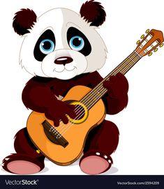 Buy Panda Guitarist by Dazdraperma on GraphicRiver. Illustration of panda plays guitar. Cute Panda Drawing, Pandas Playing, Panda Images, Teddy Bear Cartoon, Guitar Drawing, Panda Wallpapers, Animal Symbolism, Panda Love, Cute Clipart