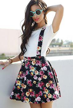 Floral Print Suspender Dress