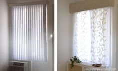 How to hide or replace vertical blinds with curtains in minutes using the existing hardware!