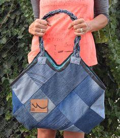 Denim handbag Patchwork Denim Bag Recycled Handbag by PrettyMarry