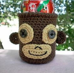 Monkey Soda Can Cozy | AllFreeCrochet.com