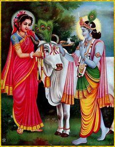 Krishn worship cow with wife Rukmini