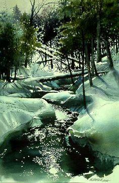 Nita engle + watercolor | Winter Brook by watercolor artist Nita Engle