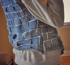 Jeans basket weave into textured vest/jacket | Trash To Couture
