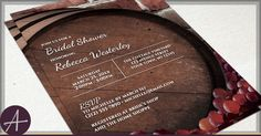 Rustic Vineyard Bridal Shower Invitations