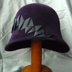 Velour Felt Cloche in Aubergine Purple with Origami Ribbon, The ribbonwork sets off the hat. #millinery #judithm #hats