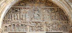 Tympan de l'abbaye de sainte Foy de conques, il représente le jugement dernier. Les inscriptions sculptées sont organisées en différentes parties: -l'organisation du temps et de l'espace -Une partie représente les mondes souterrains, le Paradis et le Limbe des patriarches et les enfers. C'est une des œuvres d'art la plus représentative de l'art Roman.