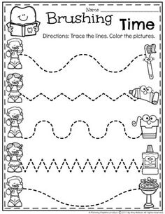 Healthy Teeth Worksheet for Preschool Dental Health Theme - Tracing.