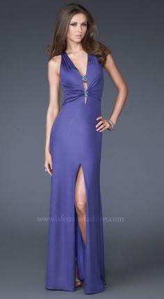 Gorgeous Sheath/Column V-Neck Floor Length Jersey Prom Dress